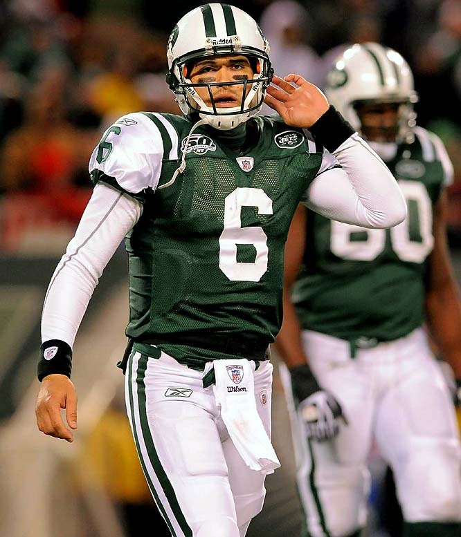 Did some people really try to compare this guy to Derek Jeter and Joe Namath in the Big Apple after just three games? Jets fans are beginning to find out what USC fans discovered when Sanchez went 0-2 in games in the state of Oregon: He's not that great in bad weather. By the way, what's the weather like in the Meadowlands in the winter?