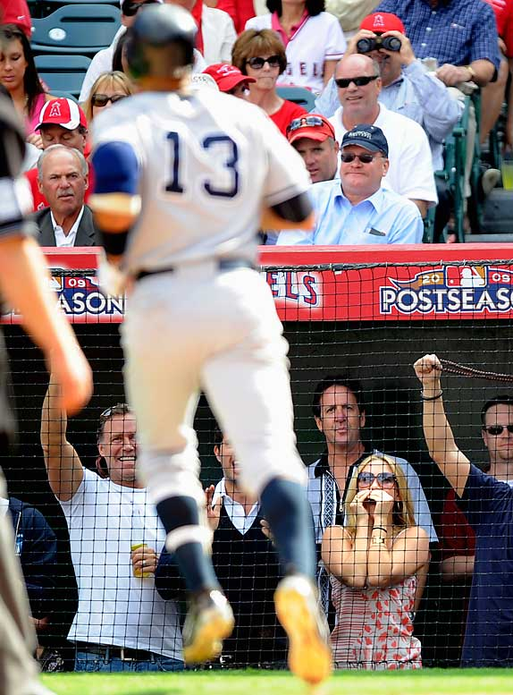 The best part of watching the Yankees play the Angels in Anaheim was constantly seeing Hudson, who was seated in a box behind home plate. The only drawback, of course, was that Pat Sajak was sitting in the same section and distracting in his own right. Where's Vanna White when you need her?