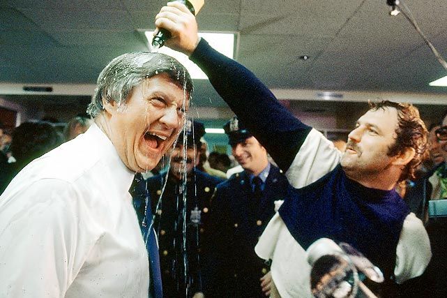 "Of all the players who passed through during Steinbrenner's ownership of the Yankees, he had perhaps the best relationship with Thurman Munson, with whom he is seen here commemorating the 1977 championship. After Munson's death in a plane crash in 1979, Steinbrenner said it was the ""saddest day of my life."""