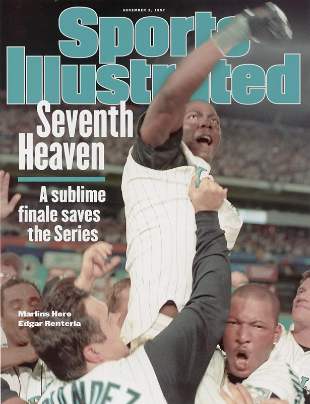 With two outs in the bottom of the 11th inning of Game 7, Edgar Renteria singles home Mark Counsell giving the Florida Marlins their first World Series title with a 3-2 win over the Indians. The five-year old Marlins become the youngest expansion team to win the Fall classic.