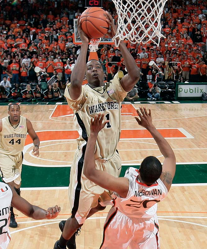 Al-Farouq Aminu (pictured), Chas McFarland, Ari Stewart, Tony Woods, David Weaver, Ty Walker<br><br>It's Aminu's turn to be the Deacons' star. He put up decent numbers as a freshman (12.9 points, 8.2 rebounds), but there weren't too many shots to go around while NBA-bound point guard Jeff Teague and power forward James Johnson were the focal points of the offense. McFarland is an excellent role player and Stewart is an athletic freshman who should push for early minutes on the wing.