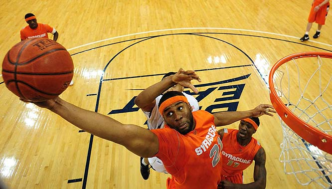 Wesley Johnson, Arinze Onuaku (pictured), Rick Jackson, Rick Jackson, DaShonte Riley<br><br>Johnson, a junior transfer from Iowa State, is being hyped as a potential All-Big East candidate by 'Cuse coaches; whether he lives up to his potential as a Tracy McGrady-like scorer will determine whether the Orange can get back in the NCAA tournament. Onuaku is one of the burliest big men in the country at 6-9 and 260 pounds, and is capable of averaging a double-double as a senior.