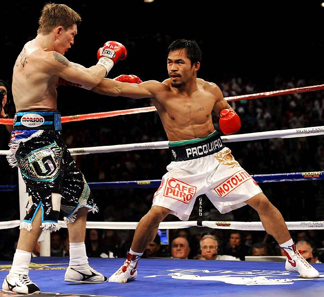 "After a dispute over the fight purse, Pacquiao and Hatton finally agreed to terms for ""The Battle of the East and West."" The battle was short-lived as Pacquiao knocked out Hatton in the second round to win the IBO and Ring Magazine light welterweight titles."