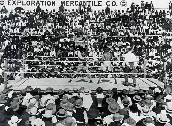 A stone marker stands in Goldfield, Nev., at the site of this bout -- and for good reason. Gans (right) regained the lightweight title after an epic and punishing 42 rounds (yes, 42) when Nelson was disqualified for a low blow.