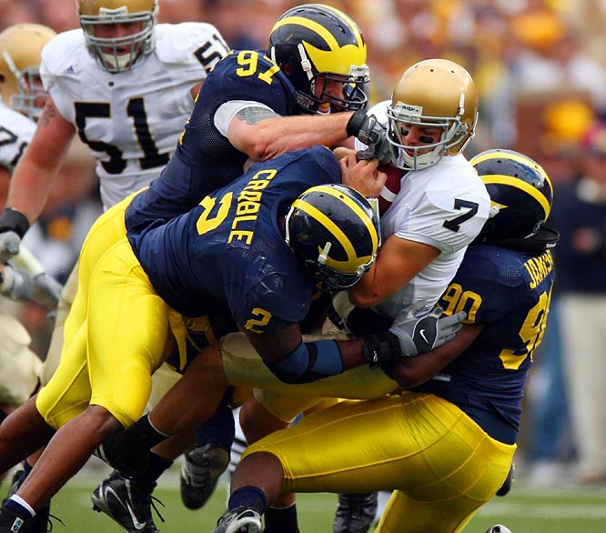 With Heisman-contending quarterback Brady Quinn and 10 other players off to the NFL, the Irish entered 2007 with an unproven roster. The result: a brutal 3-9 season that included embarrassing 38-0 losses to Michigan and USC.