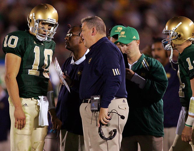 "Just weeks into Weis' first Notre Dame season, his team faced USC in what wound up being one of the games of the decade. Though the last-minute loss on the now infamous ""Bush Push"" play didn't derail Notre Dame's year (the Irish posted a 9-2 regular season mark), it wound up looming large in retrospect, as it was the closest Weis came in his Irish tenure to delivering a signature victory."
