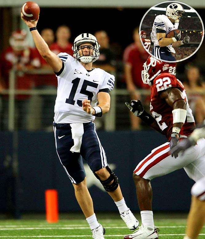 The Cougars' Max Hall engineered a 16-play, 78-yard drive, converting on a fourth-and-4 and hitting McKay Jacobson (inset) for a 7-yard touchdown with 3:03 to go up 14-13. The Sooners would miss a 54-yard go-ahead field goal with 1:23 on the clock.
