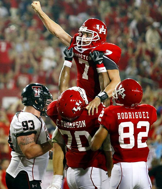 Houston earned its second win of the season over a Big 12 team as Case Keenum ended a 95-yard touchdown drive with a 4-yard keeper with 49 seconds left. The Red Raiders had a chance, but Taylor Potts' throw on the last play was broken up.