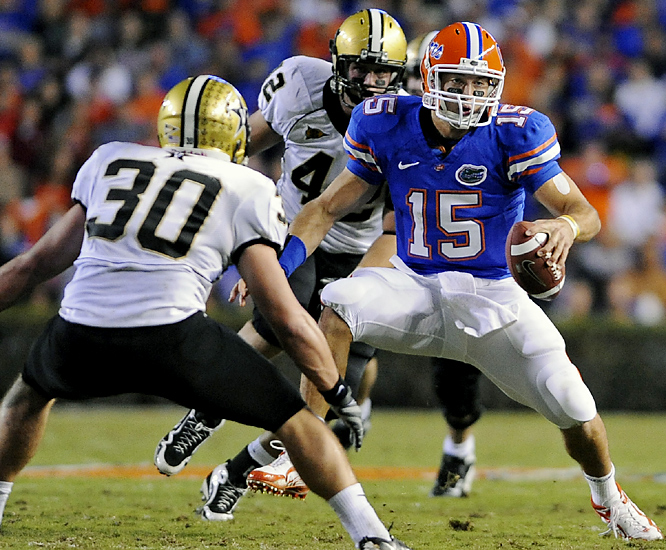 Tim Tebow (right) accounted for two touchdowns and Caleb Sturgis kicked two field goals as the Gators (9-0, 7-0) extended their winning streak to 19 games overall -- and their streak against Vandy (2-8, 0-6) to 19 games.