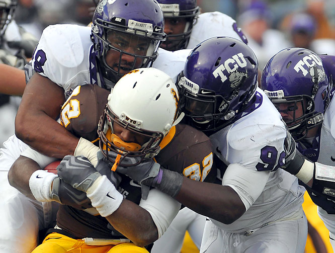 Matthew Tucker and Joseph Turner each ran for two touchdowns to lift TCU (11-0) to its best start in 71 years.