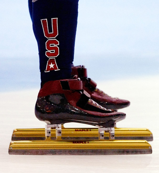 A closeup of the skates belonging to Apolo Anton Ohno, who competed in the ISU World Cup Short Track Speedskating Championships in Marquette, Mich., on Nov. 14.