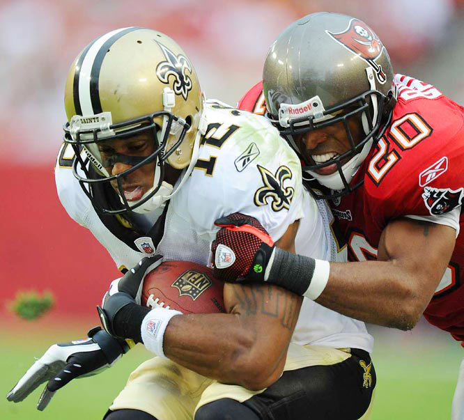 New Orleans wideout Marques Colston made five receptions for 74 yards but didn't score for the third consecutive game.Here, cornerback Ronde Barber of the Bucs brings him down in the Nov. 22 contest.