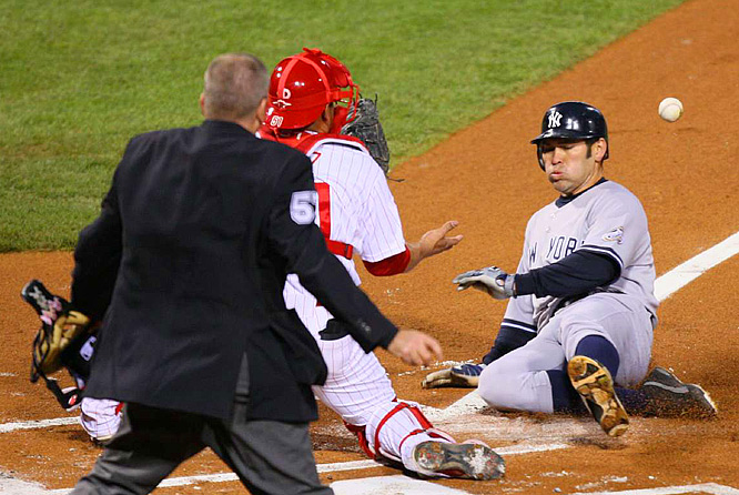 After doubling and moving to third on a Mark Teixeira grounder, Johnny Damon scored on a sacrifice by Jorge Posada.