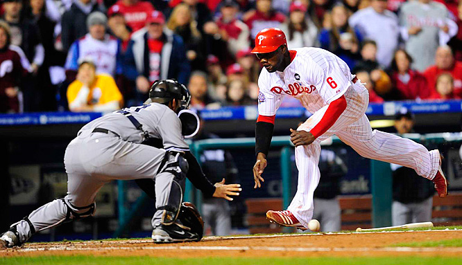 After striking out in 10 previous at-bats of this series, Ryan Howard got aboard with a single, stole second and scored in the fourth to make it a 2-2 game.