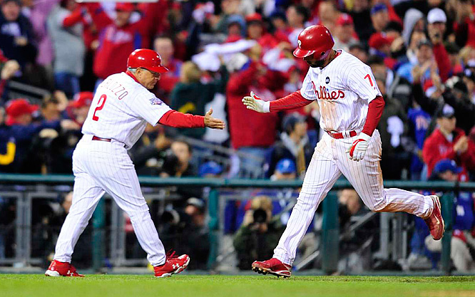 Down 4-3 heading into the bottom of the eighth, the Phillies got a solo home run out of Pedro Feliz to tie the game and give them hope.