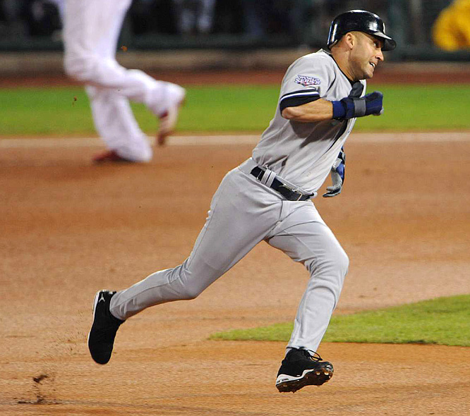 Derek Jeter singled in his first at-bat, moved to third on a Johnny Damon double and scored on a grounder by Mark Teixeira.