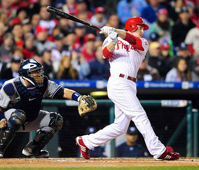 Chase Utley hit his fourth homer of the World Series, this one a three-run shot in the first inning that staked the Phillies to a 3-1 lead.