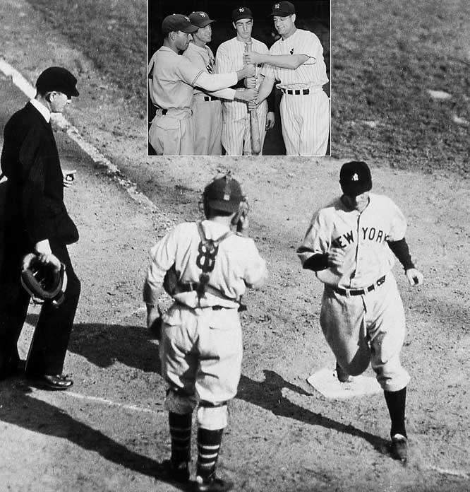 With A.L. MVP Lou Gehrig leading the way and rookie Joe DiMaggio in the fold, the Yankees won their first Series without Babe Ruth. They pounded the Giants 18-4 in Game 2 (that's Tony Lazzeri crossing the plate after hitting a home run) and 13-5 in a Game 6 clincher highlighted by a seven-run rally in the top of the ninth.