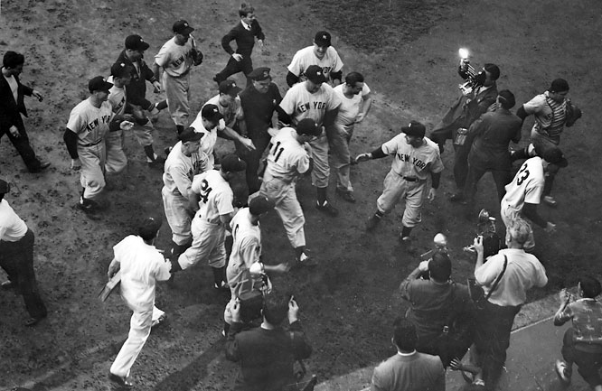 The Casey Stengel era began with the Yankees taking revenge on their new skipper's former team, defeating the Brooklyn Dodgers in five games.