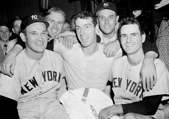 The first meeting of the Yankees and Phillies was full of squeakers as (left to right) Allie Reynolds, Bobby Brown, Joe DiMaggio, Gene Woodling and Jerry Coleman fought off the underdog Whiz Kids by scores of 1-0, 2-1, 3-2, and 5-2.