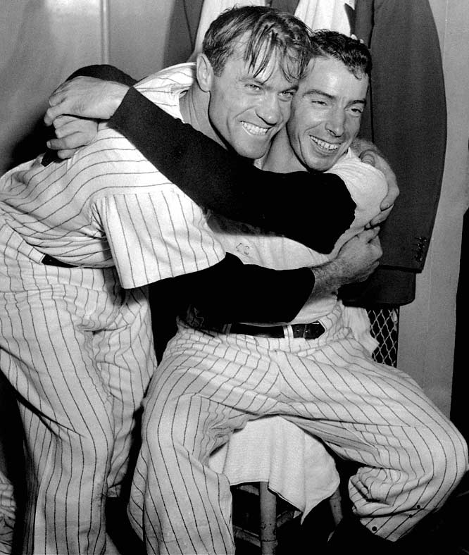 "The Yankees rallied from a two-games-to-one deficit against Bobby Thomson's ""Shot-Heard-Round-The-World"" Giants. A three-run triple by Hank Bauer (left) in Game 6 proved decisive in Joe DiMaggio's last World Series."