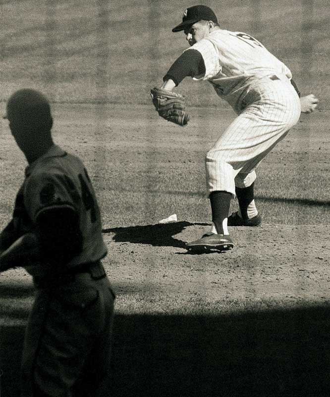 Bob Turley won 21 games and the Cy Young Award, then stemmed the tide against Hank Aaron's Milwaukee Braves by winning Game 5, saving Game 6, and winning Game 7 in relief of starter Don Larsen -- all in the space of four days.