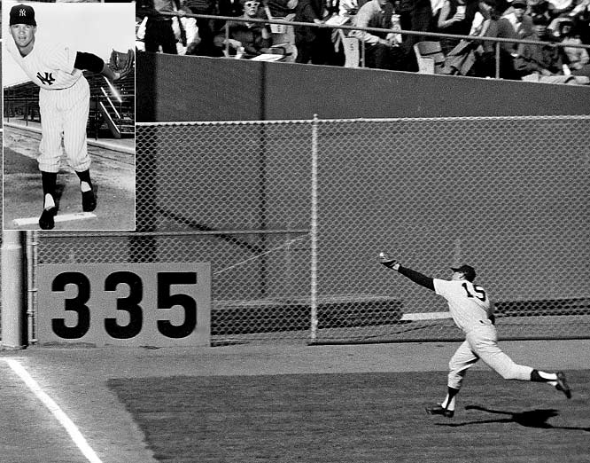 The old rivals produced a nailbiter Series that included this clutch catch by Yankee leftfielder Tom Tresh off the bat of Willie Mays in the seventh inning of Game 7 at Candlestick Park in San Francisco. The Series ended with second baseman Bobby Richardson snaring Willie McCovey's scorching line drive with the tying and winning runs in scoring position. Final score: 1-0. (Series MVP Ralph Terry inset.)