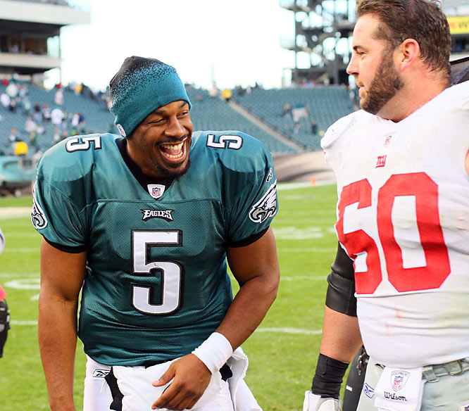 McNabb, who finished Sunday's game with a 146.7 passer rating, jokes around with Giants center Shaun O'Hara.