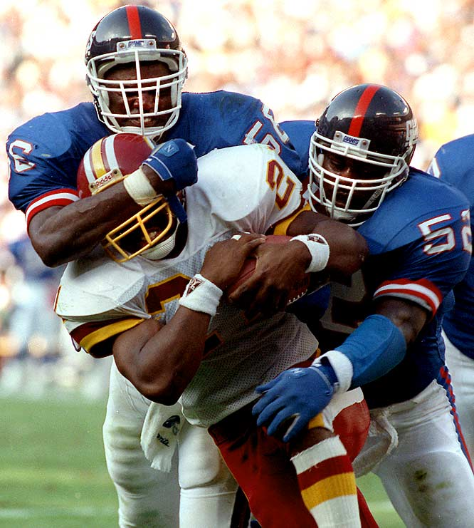 Lawrence Taylor spearheaded a defense that led the NFL in fewest points allowed (211) as the Giants went unbeaten from Weeks 1 through 11. Their first loss in the Super Bowl-winning season came at Philadelphia, where the Eagles scored twice in 22 seconds during a 31-13 victory.