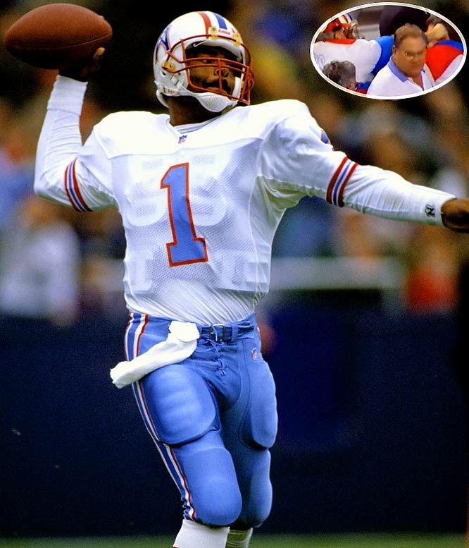 In the franchise's fourth-to-last season in Houston, Warren Moon was at the controls of the run-and-shoot offense and helped the Oilers win 10 consecutive while Cody Carlson got the start in the record-setting 11th win. Perhaps most memorable about the final win was that defensive coordinator Buddy Ryan punched offensive coordinator Kevin Gilbride right before halftime in a disagreement over offensive philosophy.