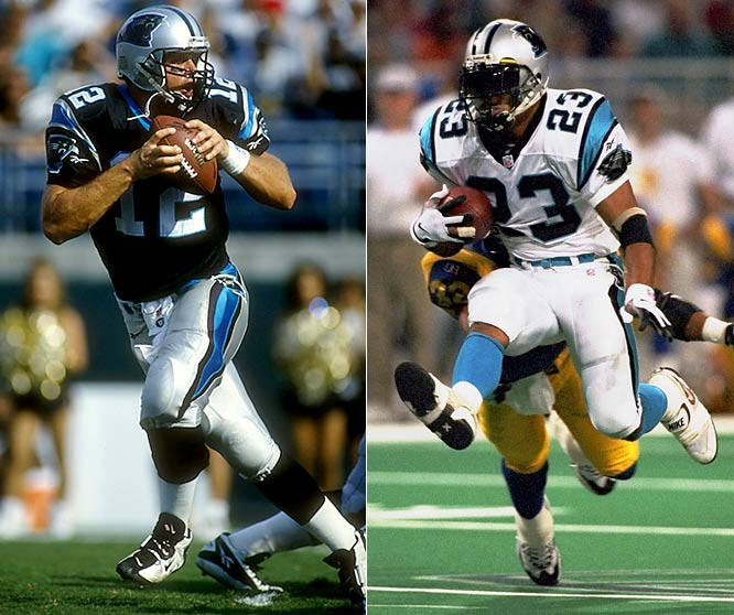 In their second season, the Panthers won their last seven to finish at 12-4 and atop the old NFC West with Kerry Collins under center and Anthony Johnson the leading rusher. Their victims during the streak: the Giants, Rams, Oilers, Bucs, 49ers, Ravens and Steelers.