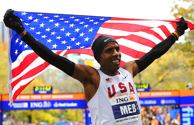 Meb Keflezighi of Mammoth Lakes, Calif., celebrated after becoming the first American to win the New York City Marathon since 1982. The 2004 Olympic silver medalist posted a time of 2:09:15.