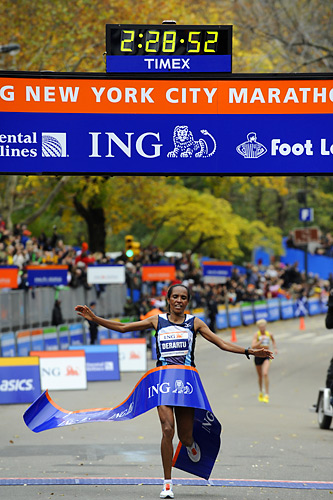 Derartu Tulu of Ethiopia won the women's title in 2:28:52.  She pulled away from Russia's Ludmila Petrova in the final half-mile to win this marathon for the first time.