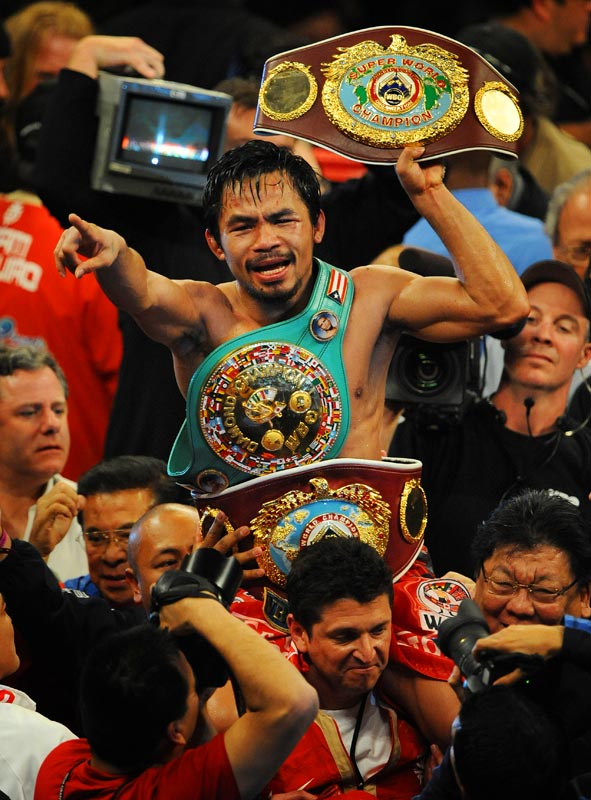 Manny Pacquiao became the first fighter to collect world championships in seven different weight classes between 112 to 147 pounds.