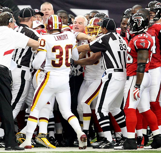 Not sure what's most embarrassing: Hall getting into it with the 50-year-old Smith on the sideline during the Falcons-Redskins game; Hall filing a complaint to the NFL about the incident; or Hall basically challenging the Falcons' coach to a fight after the game, saying Smith knows where to find him in Atlanta.