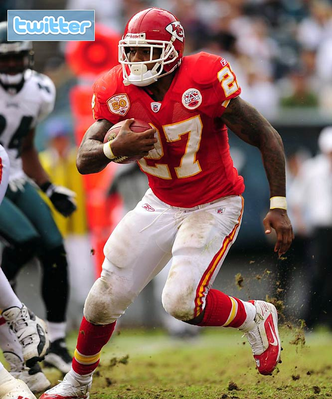 Can we count this as the first player casualty thanks to Twitter? After Johnson tweeted some controversial remarks following an Oct. 25 loss to the Chargers, the Chiefs waived the running back this week. No truth to the rumor that they informed him of his release in 140 characters or fewer.