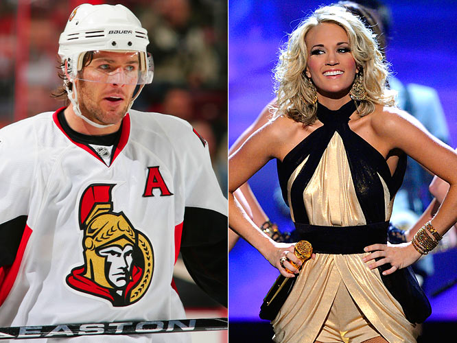 "After Underwood wrote ""I love you"" to Fisher in her new album's liner notes, the Ottawa Senators' center said, ""I told her that when my CD came out, I'd return the favor."" Let's hope Fisher was only joking about putting out his own CD and returns the favor by cross-checking a player and dedicating it to Underwood."