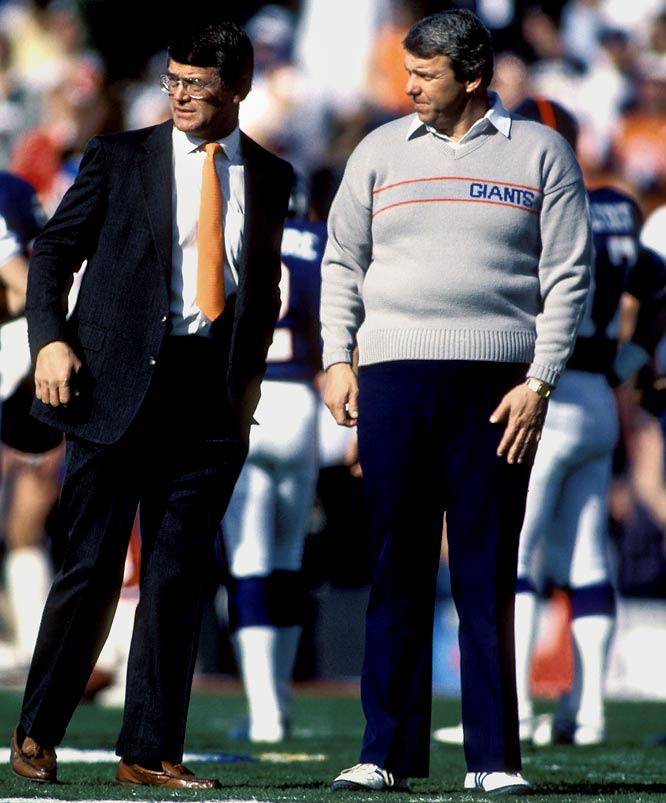 Giants coach Bill Parcells talks with Broncos coach Dan Reeves at Super Bowl XXI in 1987.