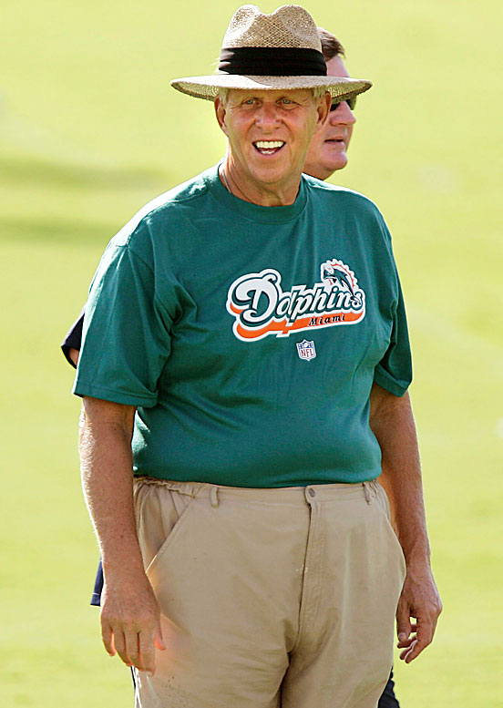 Bill Parcells makes an appearance at the Dolphins training facility in his role as Miami's Executive Vice President of Football Operations in 2008.