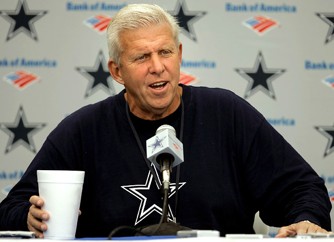 Bill Parcells, who has a reputation for press conference tirades, appears annoyed as he answers a reporter's question in 2005.