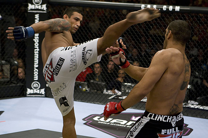 "In the first fight on the CBS telecast, Antonio ""Bigfoot"" Silva (white trunks) fought Fabricio Werdum in a tough three-round war."