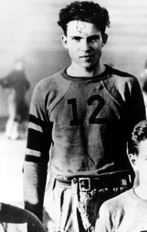 U.S. President Nixon (pictured here in 1933 as a member of the Whittier College football team) becomes the first president to attend a regular season NFL game while in office. The Dallas Cowboys beat the Washington Redskins 41-28.