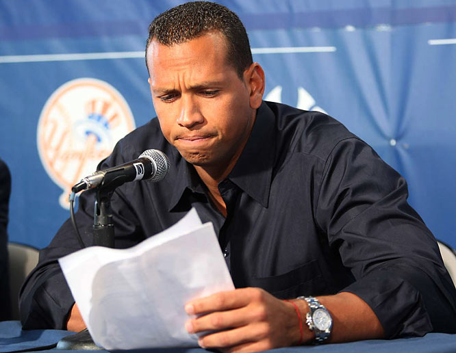 "After his name was leaked from a confidental list of 104 Major Leaguers who failed tests for performance-enhancers in 2003, A-Rod made a painfully awkward confession, as his Yankee teammates looked on, to using Primobolan supplied by a ""cousin."" He copped to being ""young, stupid and naïve"" but said he didn't really know if the boli worked. He also made a bizarre claim that he had been stalked by SI writer Selena Roberts, who was working on a book about him."