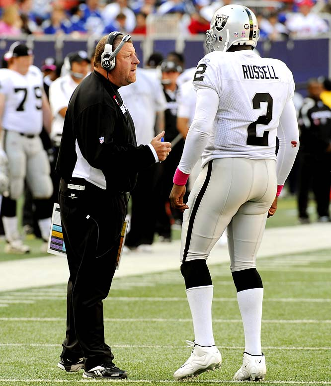 The season hadn't even started and coach Tom Cable was in trouble for allegedly punching defensive assistant Randy Hanson and putting him the hospital. The Raiders, quarterbacked by the hapless JaMarcus Russell, were soon on their way to the AFC West basement with seven losses in their first nine games, one of which, a 44-7 waxing, inspired New York Giants linebacker Antonio Pierce to observe that playing Oakland felt like a scrimmage.