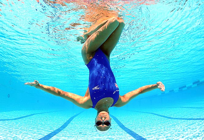"Jenna Randall, a member of the British synchronized swimming team, posed upside down on July 17, the first day of the world swimming championships in Rome. <br><br>""The girls on the British Synchro team were great, very patient, as I swam around in full scuba gear trying to get the right angle. For this shot I used a fish-eye lens. luckily it was a perfect sunny day."" -- Photographer Clive Rose/Getty Images"