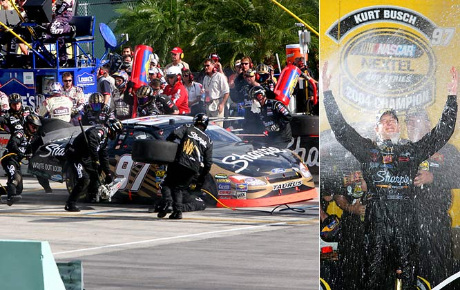 Entering the final race of the season, five drivers were within 82 points of leader Kurt Busch in the championship standings. Despite having a wheel come off, Busch held on to beat Jimmie Johnson by eight points in the final tally -- the closest finish in Chase history.