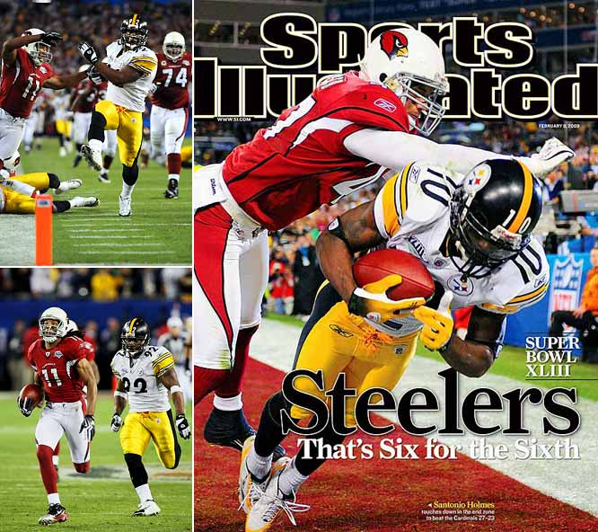 The 2009 Super Bowl had great players, great plays and so much drama that you thought twice before running to the bathroom. Steelers linebacker James Harrison punctuated his Defensive Player of the Year season by returning an interception 100 yards for a TD to end the first half, and Cardinals wideout Larry Fitzgerald scored twice in the fourth quarter to establish receiving records for catches (30), yards (546) and touchdowns (seven) in a single postseason. His 64-yard catch-and-run with 2:37 to play gave the Cardinals their first lead at 23-20, but Steelers wideout Santonio Holmes stole the MVP award by snaring a 6-yard touchdown pass from Ben Roethlisberger with 35 seconds to play.