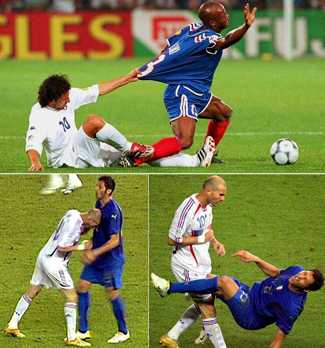 <i>Les Bleus</i> and the Azzurri engaged in two of the most memorable big games of all time this decade. In the Euro 2000 final, Italy was seconds away from winning 1-0 when Sylvain Wiltord's last-ditch goal sent the game into extra time. David Trezeguet's golden goal gave France a 2-1 win and made <i>les Bleus</i> the first team to hold the World Cup and European Championship trophies at the same time since West Germany in 1974. The tables turned, though, in the 2006 World Cup final, when Italy came from behind to tie the game, then profited from Zinedine Zidane's legendary ejection (below) to prevail on penalties.