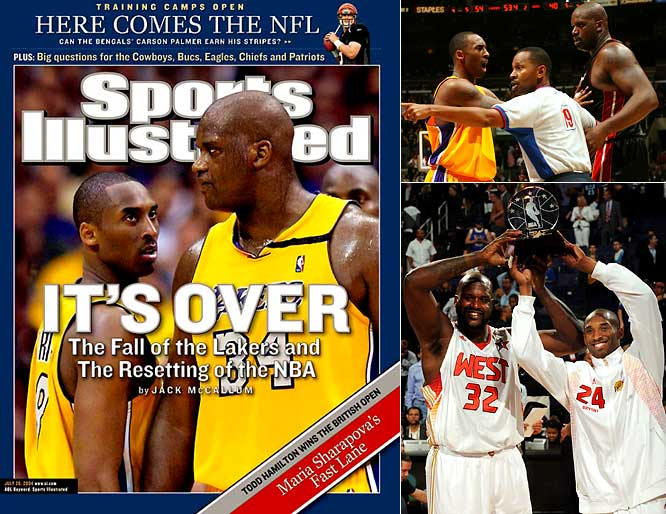 They won three championships and played in four Finals over five years, but not even Phil Jackson could keep Shaq and Kobe together. When O'Neal was dealt to Miami in 2004, the story of Shaq and Kobe turned into a modern-day fable, an updated version of Lennon and McCartney detailing the importance of mutual respect and the need for sacrifice in the pursuit of team goals. As rivals, their reunion games were typically aired on national TV, and in 2009 they shared the MVP award at the All-Star Game.