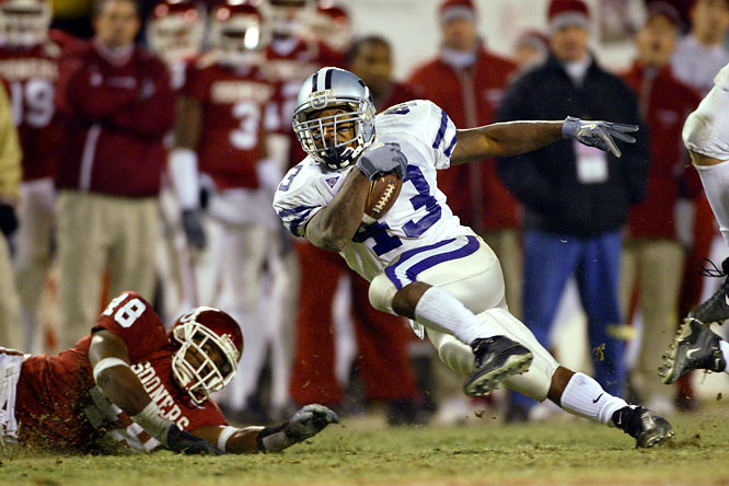 Oklahoma entered the 2003 Big 12 title game ranked No. 1 in the BCS and left ranked No. 2 in the Big 12 thanks in part to Sproles, the speedy, dual-purpose dynamo who confounded the Sooners all day. Sproles ran for 235 yards and caught three passes for 88 yards and a touchdown -- a 60-yarder -- as the Wildcats rolled to a 35-7 win.